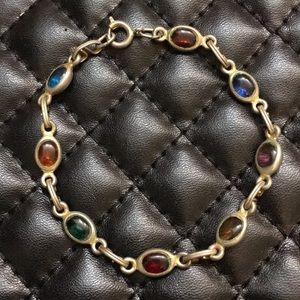 Antique Victorian Mourning Colorful Glass Bracelet